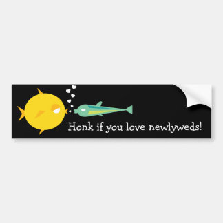 Va Fish_Deep Love_Honk si usted ama a recienes cas Etiqueta De Parachoque