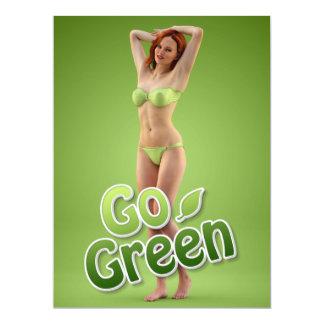 Va la belleza verde del chica invitación 16,5 x 22,2 cm