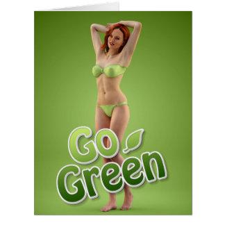 Va la belleza verde del chica tarjeta