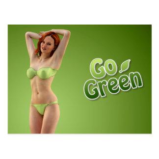 Va la belleza verde del chica tarjetas postales