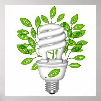 Va la bombilla ahorro de energía verde póster