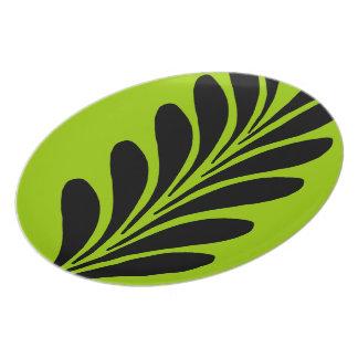 Va la placa verde de la melamina plato de comida