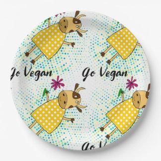 """""""Va muestra del vegano"""" con la vaca y las flores Platos De Papel"""