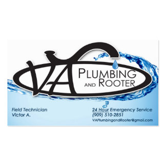 VA Plumbing & Rooter Double-Sided Standard Business Cards (Pack Of 100)