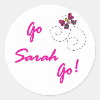 ¡Va Sarah va! Mariposa Etiquetas Redondas