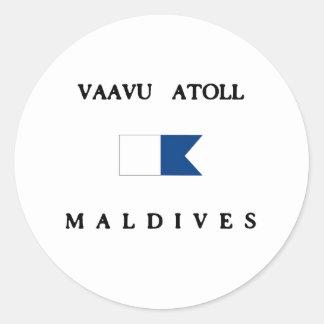 Vaavu Atoll Maldives Alpha Dive Flag Classic Round Sticker