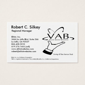 VAB - Regional Manager - Customized Business Card