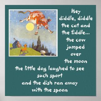 vaca a-3 saltada sobre el poster   de la luna