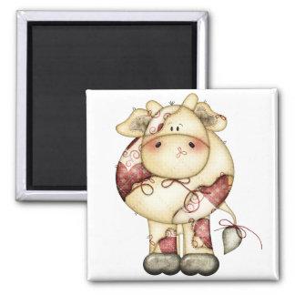 Vaca acolchada del país imán cuadrado