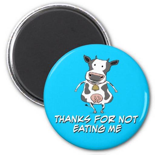 Vaca agradecida iman de nevera