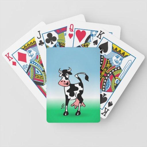 Vaca alegre en un prado cartas de juego