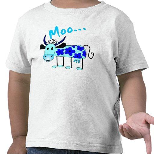 Vaca azul de la flor - el MOO embroma la camisa