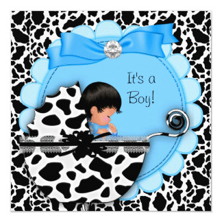 """Vaca azul del cochecito de niño del bebé lindo de invitación 5.25"""" x 5.25"""""""