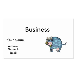 vaca azul gorda divertida tarjetas de visita