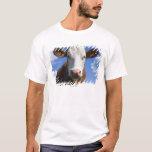 Vaca bávara contra el cielo azul playera