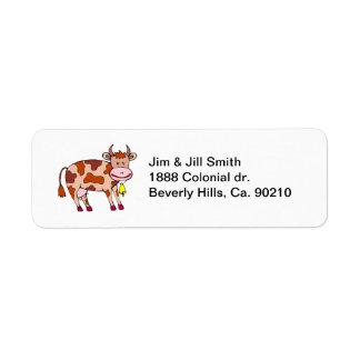Vaca Bell Etiquetas De Remite