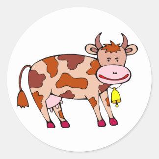 Vaca Bell Pegatina Redonda