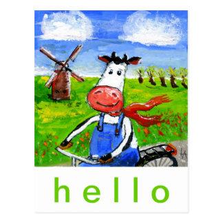 Vaca Biking Tarjeta Postal