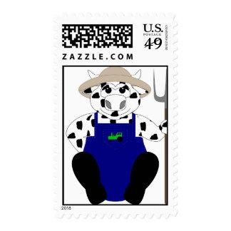 Vaca blanco y negro del granjero