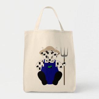 Vaca blanco y negro del granjero bolsa tela para la compra