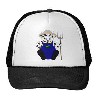 Vaca blanco y negro del granjero gorras