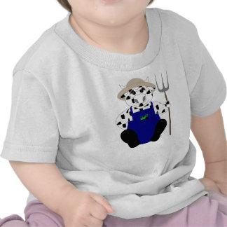 Vaca blanco y negro del granjero camiseta