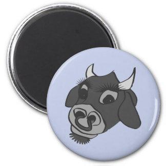 vaca blanco y negro del timey viejo imán redondo 5 cm