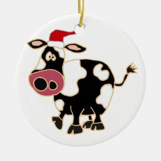 Vaca blanco y negro en el gorra de Santa Adorno Navideño Redondo De Cerámica
