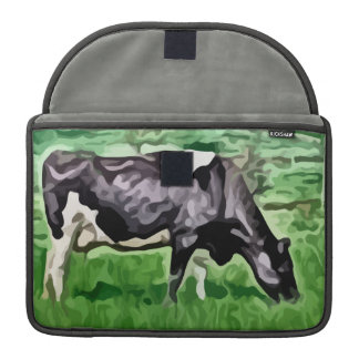 Vaca blanco y negro que pasta la pintura fundas para macbooks
