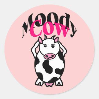 Vaca cambiante etiqueta redonda