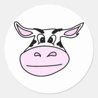 Vaca cambiante pegatina redonda