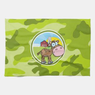 Vaca camo verde claro camuflaje toalla de cocina