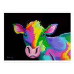 Vaca colorida tarjeta postal