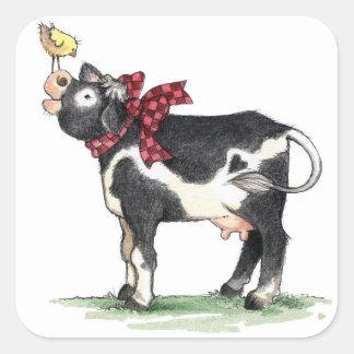 Vaca con el arco - pegatinas pegatina cuadrada