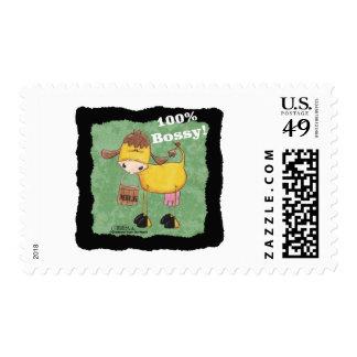 Vaca con el cubo de la leche el 100 por ciento de sellos postales
