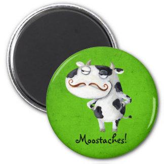 Vaca con los bigotes imán redondo 5 cm