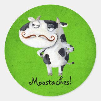 Vaca con los bigotes pegatina redonda
