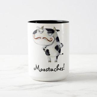 Vaca con los bigotes taza de café de dos colores