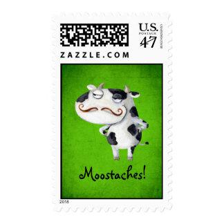 Vaca con los bigotes timbre postal