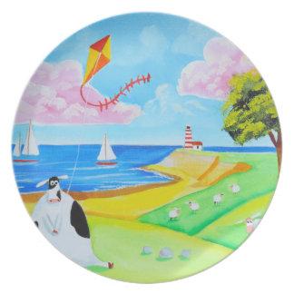 Vaca con una pintura del arte popular de la cometa plato para fiesta
