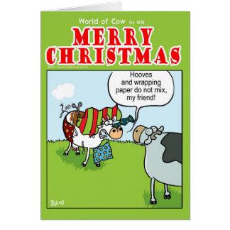 Vaca contra el papel de embalaje tarjeta de felicitación