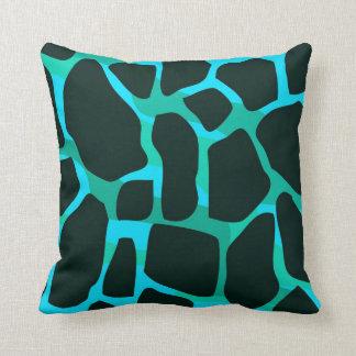 Vaca cuadrada del animal del negro del verde azul cojín decorativo