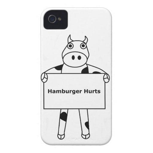 Vaca:  Daños de la hamburguesa iPhone 4 Case-Mate Carcasas