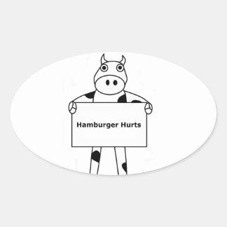 Vaca:  Daños de la hamburguesa Pegatina Ovalada