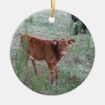 Vaca de Brown del bebé. Ornamento Para Arbol De Navidad