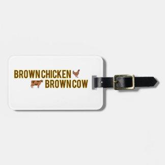 Vaca de Brown del pollo de Brown Etiqueta De Maleta