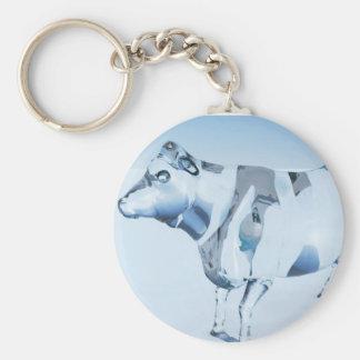 Vaca de cristal llavero redondo tipo pin