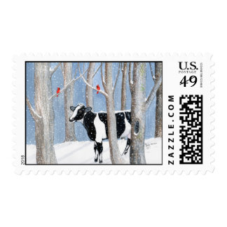 Vaca de diciembre timbre postal
