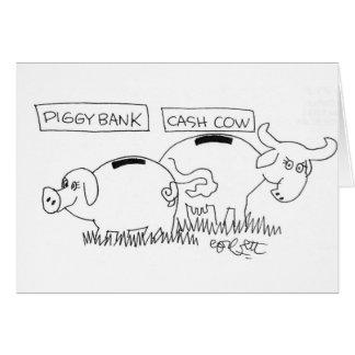 Vaca de efectivo de la hucha… tarjeta de felicitación