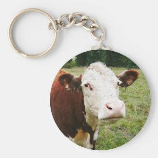 Vaca de ganado hecha frente blanca llavero redondo tipo pin